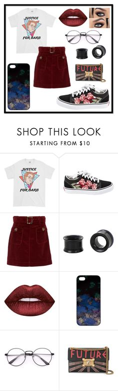 """Untitled #386"" by queen-beanie ❤ liked on Polyvore featuring Vans, AlexaChung, Hot Topic, Lime Crime, Samantha Warren London and Gucci"