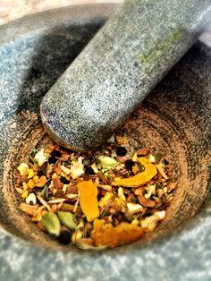 Making Tulsi Turmeric Chai- yum!  #ayurveda #sacredayurveda #blueturtlebotanicals
