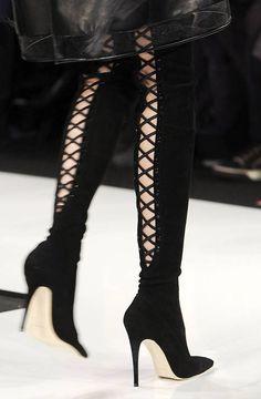 Ralph Rucci Black Lace-Up Stiletto Boots Fall 2013