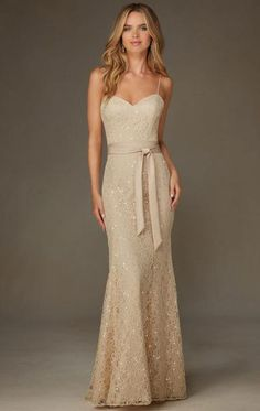 Simple Champagne Long Bridesmaid Dress BNNCL0005