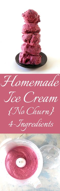 You don't need an ice cream churner to make ice cream. This homemade ice cream recipe comes together within 20 minutes using a food processor. Only 4 ingredients required. Easy no churn homemade berry ice cream Köstliche Desserts, Frozen Desserts, Frozen Treats, Delicious Desserts, Dessert Recipes, Yummy Food, Dessert Food, Ice Cream Churner, Vegetarian Comfort Food