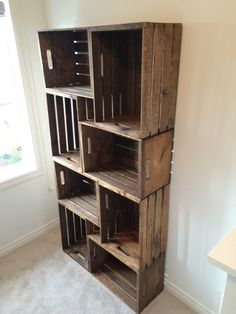DIY Crate Bookshelf, Rustic Home Decor Ideas via Refresh Restyle Wood Crate Shelves, Crate Desk, Diy Wooden Crate, Crate Bookshelf, Wood Crates, Bookshelves, Short Bookshelf, Rustic Bookcase, Billy Bookcases