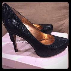 "BCBGeneration Stylish Snake print pumps Snake printed leather upper; 3/4"" hidden platform; 4-3/4"" covered heel; still in good condition. Very stylish & comfy BCBGeneration Shoes Heels"