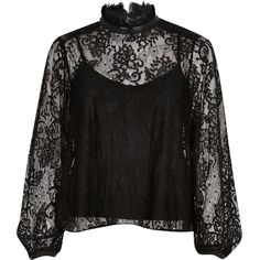 River Island Black lace high neck blouse (€69) ❤ liked on Polyvore featuring tops, blouses, black, women, black cami, high neck ruffle blouse, black sheer blouse, see through blouse e lace camisole