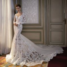 Aliexpress.com : Buy V Neck Long Sleevs Beading Applique Unique Wedding Dress See Through Back Mermaid Lace Bride Dresses vestido de noiva from Reliable dress chestnut suppliers on idodress  | Alibaba Group