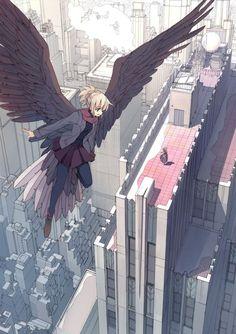 Anime girl flying