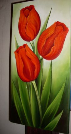 Tutorial La Dalia in Decorative Painting- Dahlia en pintura deorativa Tulip Painting, Fabric Painting, Image Painting, Painting Flowers, Simple Acrylic Paintings, Arte Floral, Flower Wallpaper, Flower Art, Watercolor Art