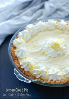 Lemony and sweet, this easy low carb lemon cloud pie is perfect for any cookout! Low Carb Lemon Pie Recipe, Low Carb Recipes, Ketogenic Recipes, Ketogenic Diet, Free Recipes, Low Carb Deserts, Low Carb Sweets, Healthy Sweets, Gluten Free Desserts