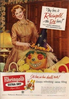 """Rheingold beer """"40 VINTAGE ADVERTISEMENTS FOR HALLOWEEN"""" I love the illustration and the graphic of retro advertisement, always make me smile! So i selected for you 40 vintage ads for Halloween. Hope you will enjoy! Happy Vintage Halloween!!"""