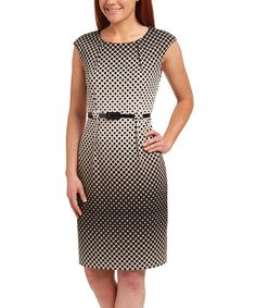 Black & Beige Lattice Belted Sheath Dress #zulily #zulilyfinds