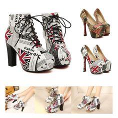 Ladys Union Jack Print Leather High Heels Platform Ankle Boots/Pumps Women Shoes