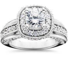 1 Cushion Halo Diamond Engagement Ring White Gold (G/H, Engagement Ring Carats, Engagement Rings Cushion, Halo Diamond Engagement Ring, Round Diamond Cushion Halo, Diamond Cluster Ring, Diamond Rings, Cheap Engagement Rings, Celtic Wedding Rings, Love