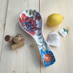 This bright floral spoon rest added just in time for a spring & summer kitchen refresh from my Etsy shop https://www.etsy.com/listing/271066414/spoon-rest-ceramic-cooking-is-love-made