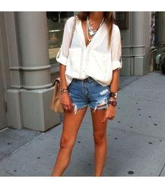 @Who What Wear - Stephanieunteris wearing: Shop Excess Baggage shirt, Omen Eye shorts.  Get The Look: Rag & Bone/JEAN Boyfriend Shorts ($198)  See more ways to weardenim shorts on Pose.com.