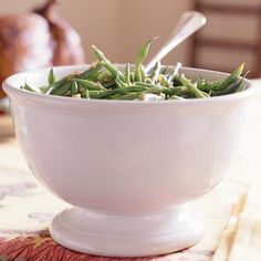 Green Beans with Bacon-Balsamic Vinaigrette  Almost everything is better with a little bit of bacon, and fresh green beans are no exception. The brown sugar and balsamic                                vinegar contribute a tangy sweetness and chopped almonds give a little crunch.