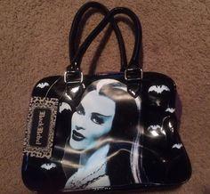LILY MUNSTER ROCK REBEL PURPLE Glitter Vinyl Black VINYL Hand BAG MUNSTERS Purse #RockRebel #HandBag