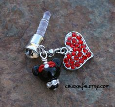 Dust Plug Minnie Mouse Style Disney Inspired Dangle DeSIGNeR Cell Phone Charm iPod iPad iPhone Protector by TheGlassPixie on Etsy https://www.etsy.com/listing/222855153/dust-plug-minnie-mouse-style-disney
