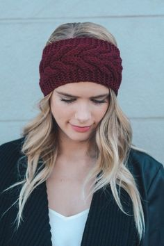 Cable knit cold weather crochet headband. 100% acrylic.