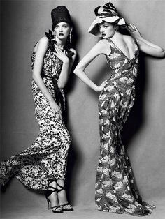 """Body language"". Lily Donaldson and Lisa Cant by Steven Meisel"