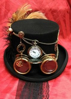 Steampunk Festival Victorian Wool Top Hat Alice Through The Looking Glass Time Pocket Watch Goggles Clock Wheels Key Cosplay Mad Hatter Steampunk-Festival viktorianischen 100 % Wolle Top Hat von Steampunk Cosplay, Moda Steampunk, Viktorianischer Steampunk, Steampunk Halloween, Steampunk Design, Steampunk Clothing, Steampunk Fashion, Fashion Goth, Victorian Fashion