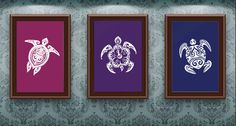 Set of 3 Sea Turtle Prints - Nautical Print - Bathroom/Wall Decor (upgrade available please see below for details) -  ANY ANIMAL AVAILABLE. $7.99, via Etsy.