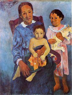 Tahitian woman and two children - Paul Gauguin