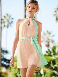 Short Pastel Halter Dress - summer fashion - summer dress - short dress - pastel halter