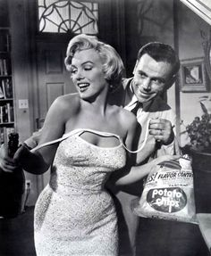 """""""The Seven Year Itch"""" 1955. She got the champagne out of the fridge. It was right next to her underwear and the potato chips! :)"""