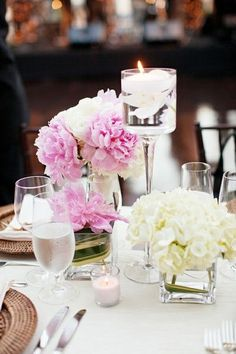 peony and hydrangea centerpieces | peonies, hydrangeas and floating candle centerpiece / wedding ...