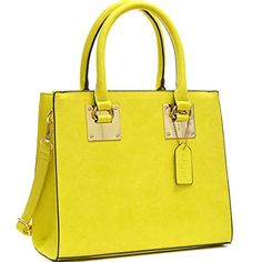 Dasein Structured Faux Leather Tote Satchel Bag with GoldTone Accent  Bright Yellow ** You can get additional details at the image link.