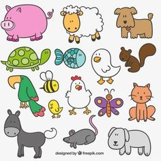 Cute Hand Drawn Farm Animals Free Vector - Would be cute with a farm scene Doodle Drawings, Doodle Art, Easy Drawings, Animal Drawings, Drawing For Kids, Art For Kids, Farm Animals, Cute Animals, Black Cat Illustration