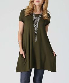 This 42POPS Olive Side-Pocket Swing Tunic by 42POPS is perfect! #zulilyfinds