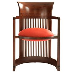 "Frank Llyod Wright Barrel Chair  USA  1937/1986  Frank Llyod Wright Barrel Chair for Cassina  Designed in : 1937. Frank Lloyd Wright."" Stamped and numbered on verso Cassina FLW Certified by foundation:"