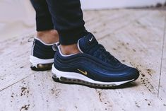 06817e9e86f Nike Air Max 97 On Feet Navy Grey Black