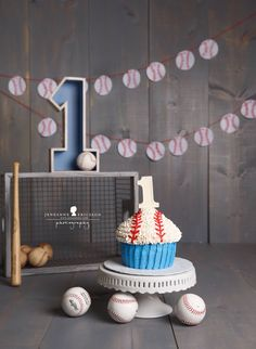 Baseball themed giant cupcake cake smash first birthday www.jeneanne.com