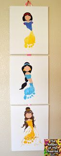 Disney Princess Footprints. So cute. But messy. But cute! They could also could flip the foot print around the other way and make super heros with capes or super buff men?