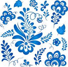 Синие цветочные элементы в русском стиле гжель
