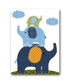 Elephant Nursery Decor Digital Art Instant Download Print Playroom Decor Printable Art Digital Download Baby Boy Nursery Art 8x10 11X14 by nataeradownload on Etsy