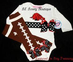 Baby Girl Razorback Onesie and Football leg warmers.  #Baby Girl Gift