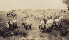 Cowboys on the cattle trail near Dodge City, Kansas.  Photo courtesy Boot Hill Museum