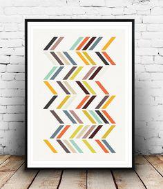 Geometric art, Retro wall art, Mid century print, Geometric wall art, Multicolor print, Orange pink print, Mid century art, Geometric poster