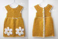 Daisy Dress crocheted with Caron Simply Soft! This is a must-make for your little one this season. Made up of DC stitches, the pattern is easy and works up fairly quickly. I love the smooth soft texture of Caron Simply Soft yarn and … Crochet Toddler Dress, Crochet Daisy, Crochet Girls, Crochet Baby Clothes, Crochet For Kids, Knit Crochet, Daisy Dress, Crochet Stitches, Crochet Patterns