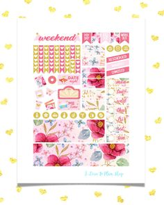 50% OFF SALE/ WATERCOLOR Floral Printable Planner Stickers for