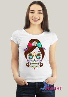 Camiseta Baby Look Caveira Mexicana. Tecido em malha 100% poliéster 653b75bcc81