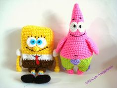 Sponge Bob and Patrick #crochet patterns for sale from All So Cute