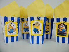 MiNIONS Party Favor Bags Minion Party Favors, Despicable Me Party, Minion Theme, Minion Birthday, Party Favor Bags, Boy Birthday Parties, 7th Birthday, Birthday Ideas, Movie Candy