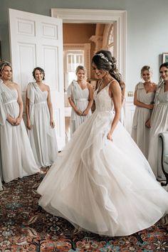 wedding A-Line One-Shoulder Chiffon Bridesmaid Dress With Pleats, A-Line One-Shoulder Chiffon Bridesmaid Dress With Pleats, White Wedding Dresses, Designer Wedding Dresses, Bridesmaid Dresses, Bridesmaids, Bridal Gowns, Wedding Gowns, Tulle Wedding, Wedding Bride, Bride Look