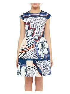 Ted Baker London 'Wrennie' Print Cap Sleeve Dress