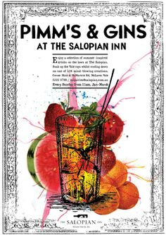 Pimms & Gins Event Poster for Salopian Inn McLaren Vale. Designed by www.davidbyerlee.com London Gin, Gin Tasting, Poster Designs, Gin And Tonic, Mind Blown, Macarons, Design Ideas, Events, Park