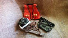 Baby hunting outfit.  Hunters orange vest with removable shotgun shells.  Perfect photo prop or baby shower gift!